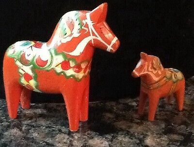 Set Of 2 Vintage Red Dala Swedish Hand painted Horses