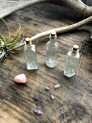 Set of 3 Vintage Apothecary Bottles- Cut Glass- Home Decor or Altar Tool Magick