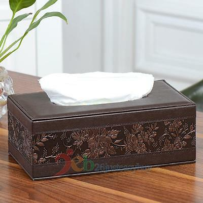 Rectangle PU Leather Vintage Tissue Box Cover Home Car Napkin Paper Holder Case
