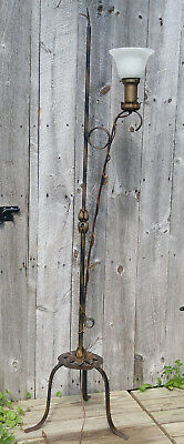 Antique Arts Crafts Blk/Gold Wrought Iron Floor Lamp, Tole Flowers, Tripod Base