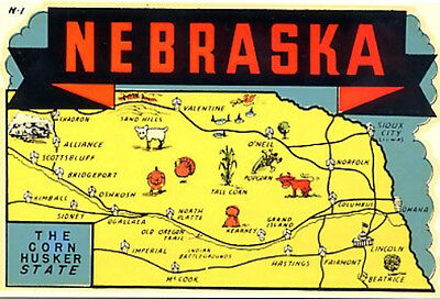 Vintage Nebraska Corn Husker State Map Souvenir Water Dip Travel Decal Sticker