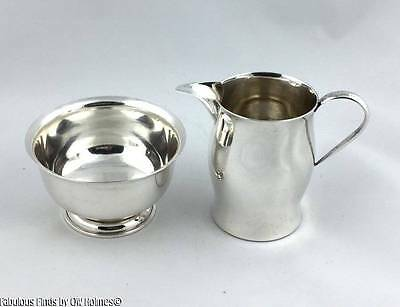 Vintage STERLING SILVER Paul Revere Reproduction Creamer & Sugar Set CALDWELL