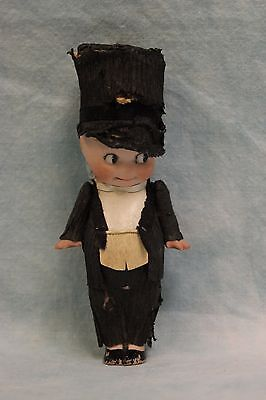 "5"" Antique German Bisque Kewpie Groom Doll Crepe Paper Suit All Original 1913"