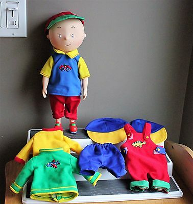 """12"""" Classic CAILLOU DOLL Plastic body comes w/ extra outfits EXCELLENT SPOTLESS"""