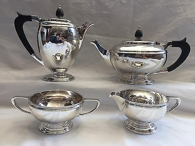Sterling Solid Silver Four Piece Tea Set - Mappin & Webb Ltd - Sheffield - 1944