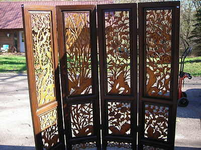Vintage/antique Hand Carved Wood 4 Panel Chinese Screen 6Ft.tall Shipping Avail.