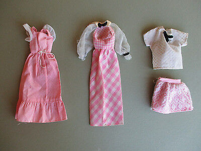 Vintage 70's  3 Barbie outfits Quick Curl /Sweet 16 / Pink Dresses skirt top Lot