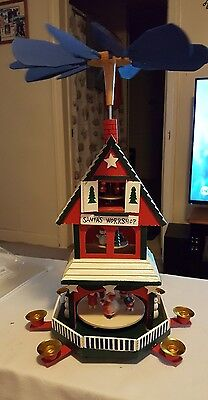 German Style Christmas Pyramid Windmill  Wood Candle Carousel