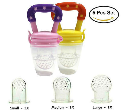 Baby Food Feeder Fresh Fruit Feeding Pacifier Nibbler Children Teething 5 Pcs