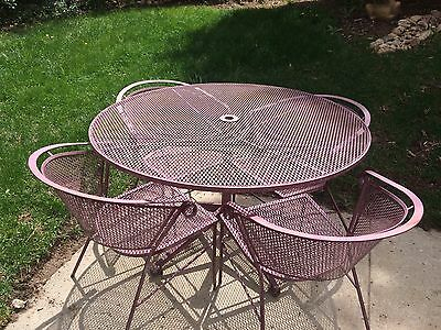 """Vintage Wrought Iron 48"""" Patio Table & Four Chairs Set"""