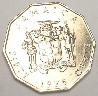 1975 Jamaica Jamaican 50 Cents Garvey Ten Sided Coin AU
