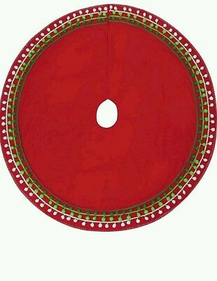 "48"" PomPom Red Christmas Tree Skirt  From Target New"