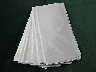 Antique Linen Damask 6 Large Napkins MISTLETOE & RIBBONS Hand Hemmed Millmarks