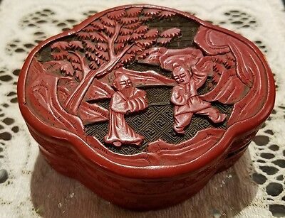 Antique Chinese Cinnabar Covered Box w/ elders and tree