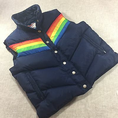 VINTAGE ANTLER NAVY BLUE RAINBOW Kelso That 70's Show Down Feather Puffer VEST M