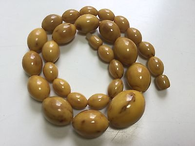 Vintage BAKELITE Marbleized Butterscotch Beaded Necklace