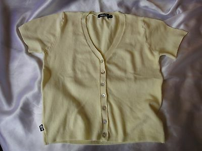 Women's Knit Jacket Short Sleeves Size  S Approx Yellow