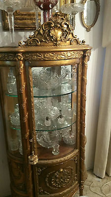 Victorian French Gold Leaf Curio Cabinet Vitrine with Original Finish Beautiful!