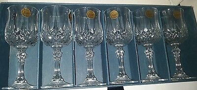Vintage Cristal D'arque Long Champ Crystal Wine Glasses