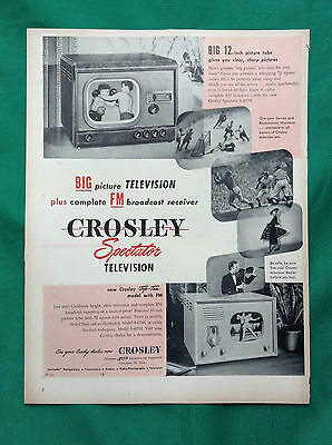 1948 Vintage Magazine Early TV Ad  ~ Crosley Spectator Television ~ FM Broadcast