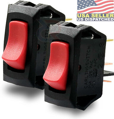 2x CARLING TECHNOLOGIES LRA911-RS-B/120N Lighted Rocker Switch,SPST,3 Connection
