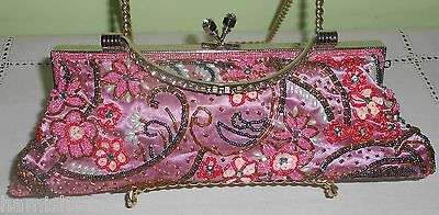 Glamorous Rose Pink Green Satin Sequin Pearl Evening Wedding Bag Purse Clutch