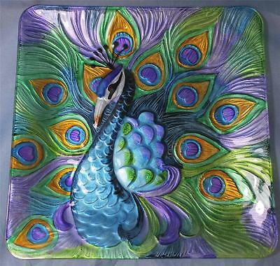 Peacock Plate Wall Hanging Painted Glass Purple & Blue Peacock Decorative Plate