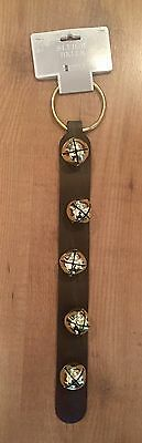 NWT 5 JINGLE BELLS SLEIGH BELLS on hanging leather strap