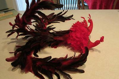3 Red Peacocks Long Feather Tails-Pier 1 Decor-Valentine Metal Clip For Branches