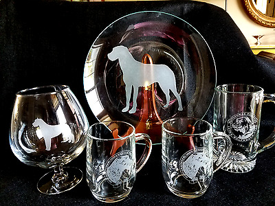 Lot of Irish Wolfhound Glassware-5 pieces