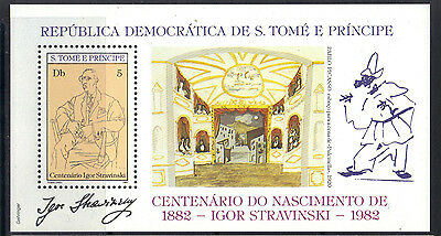 S.Tome & Principe 1982 Composer Stravinsky Caricatures by Picasso MNH SS SC 661