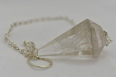 Rutilated Quartz Faceted Pendulum Reiki Crystal Healing Chakra Balance