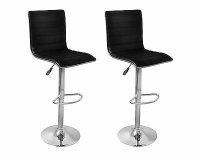 S# New 2pc PU Leather Bar Stool Set Black Kitchen Dining Chair Gas Lift Steel Ta