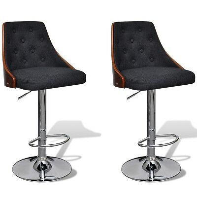 2x Bent Wood Bar Stool w/ Backrest Kitchen Chair Dining Fabric Iron Gas Lift