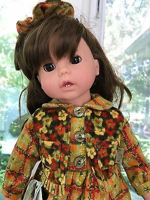 "Gotz Blonde 18"" Doll Germany Brunette Brown Eyes 297 16 Pampolina w/Hippo"