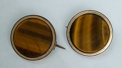 Antique Pair Tiger Eye Brooches Brooch Lot Matching Rare Vintage