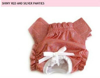 Adorable Dog Panties Dog Diaper - Shiny Red & Silver - XXS - XLG