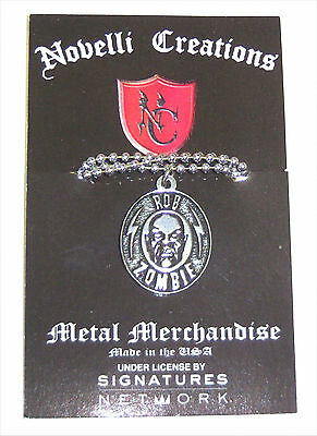 """Rob Zombie Metal Engraved Oval """"small Pendant"""" Face Necklace New Nwt White"""