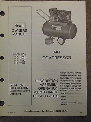 1980's Sears Air Compressor Model # 919.177510 Owners Manuel