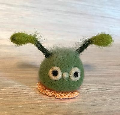 Needle Felted Bunny Green Bug  Fantasy Monster Doll Epic Magic Art Wool New
