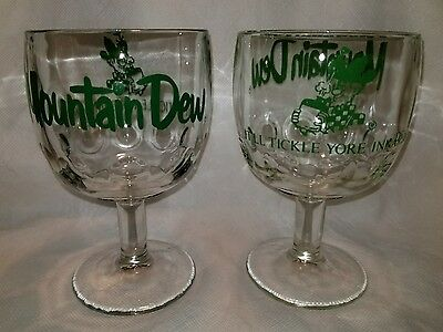 """2 Vintage Mountain Dew Heavy Glass Goblet It""""ll Tickle Your Innards Ex Condition"""
