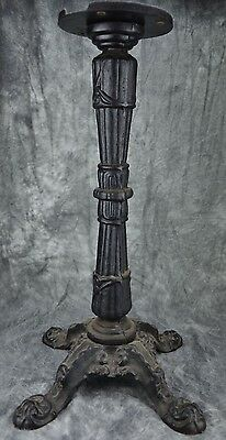 """Vintage Ornate Cast Iron Table Base 26"""" Tall - Cool Piece!!"""