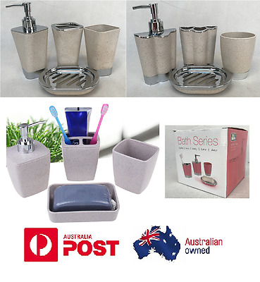 New 4 Piece Bathroom  Accessory Set Soap Dish Dispenser Tumbler Toothbrush