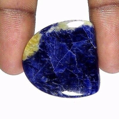 "34.00Cts. NATURAL BLUE SODALITE ""D"" SHAPE TOP QUALITY!! CABOCHON GEMSTONE SD-04"