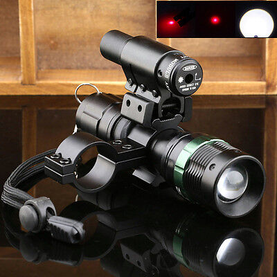 5000LM Taktische LED Zoom Taschenlampe Lampen + Rot Sight Scope +Mount Ring Jagd