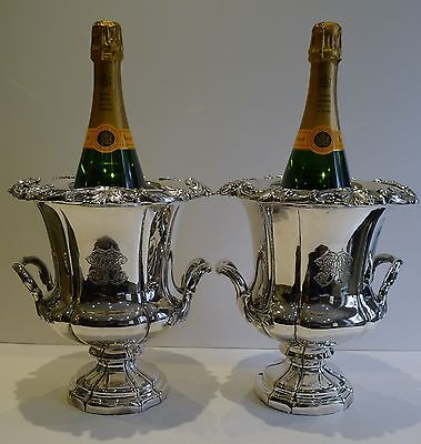Pair Antique English Old Sheffield Plate Wine Coolers c.1820