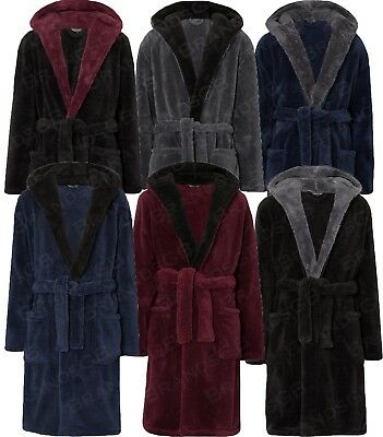 Mens 100% Polyester Soft Cozy Fleece Bathrobe Dressing Gown Robe Sizes M-5Xl