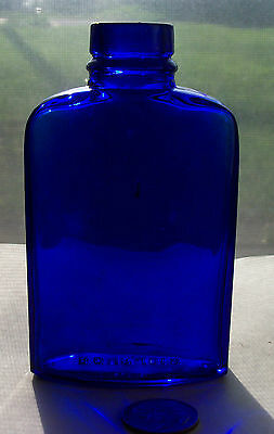 NICE BLUE PERFUME BOTTLE. base embossed, BOURJOIS