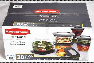 NEW 30 PC Rubbermaid Premier Food Container Storage Set Stain Resistant BPA FREE