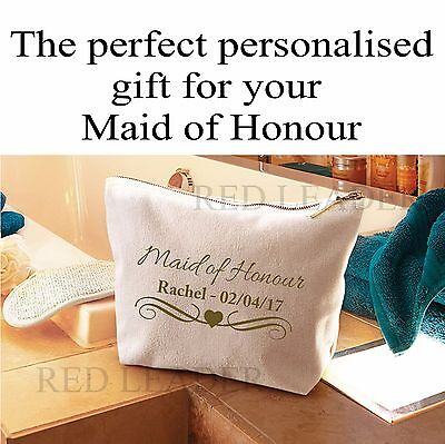Personalised Maid of Honour Make Up Cosmetic Wash Bag NAME DATE Wedding Gift